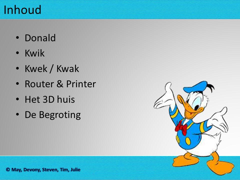 Inhoud Donald Kwik Kwek / Kwak Router & Printer Het 3D huis De Begroting