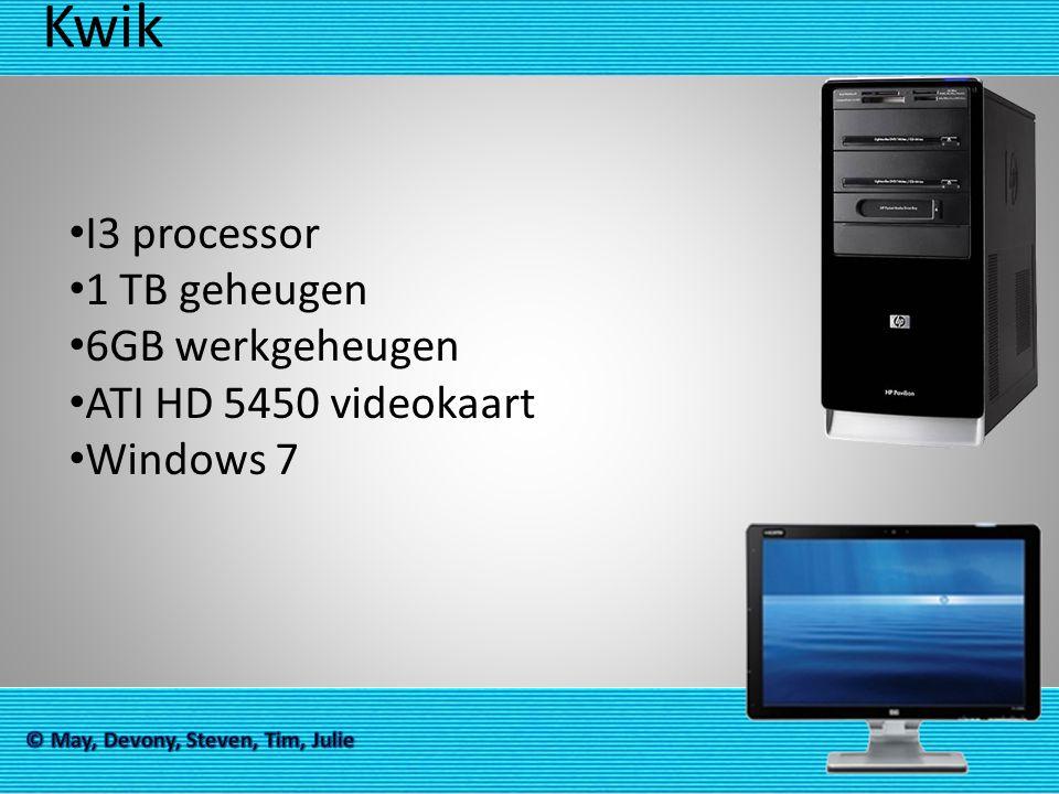 Kwik I3 processor 1 TB geheugen 6GB werkgeheugen ATI HD 5450 videokaart Windows 7