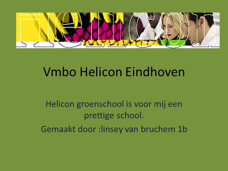 Vmbo Helicon Eindhoven Helicon groenschool is voor mij een prettige school. Gemaakt door :linsey van bruchem 1b
