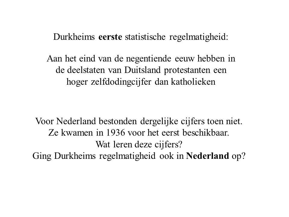 Durkheims eerste statistische regelmatigheid: Aan het eind van de negentiende eeuw hebben in de deelstaten van Duitsland protestanten een hoger zelfdodingcijfer dan katholieken Voor Nederland bestonden dergelijke cijfers toen niet.