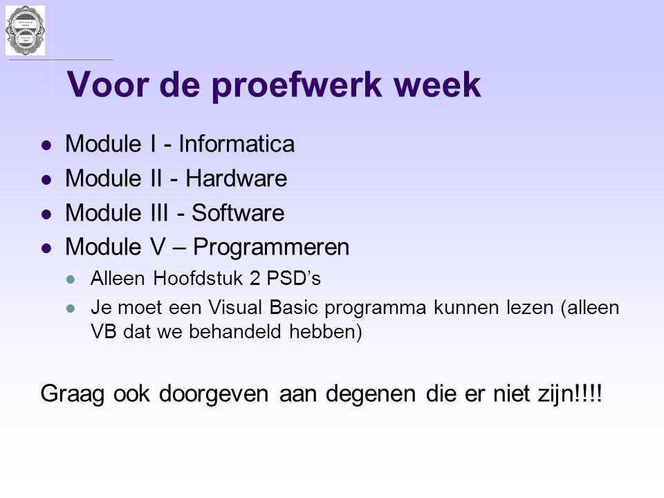 Voor de proefwerk week Module I - Informatica Module II - Hardware Module III - Software Module V – Programmeren Alleen Hoofdstuk 2 PSD's Je moet een