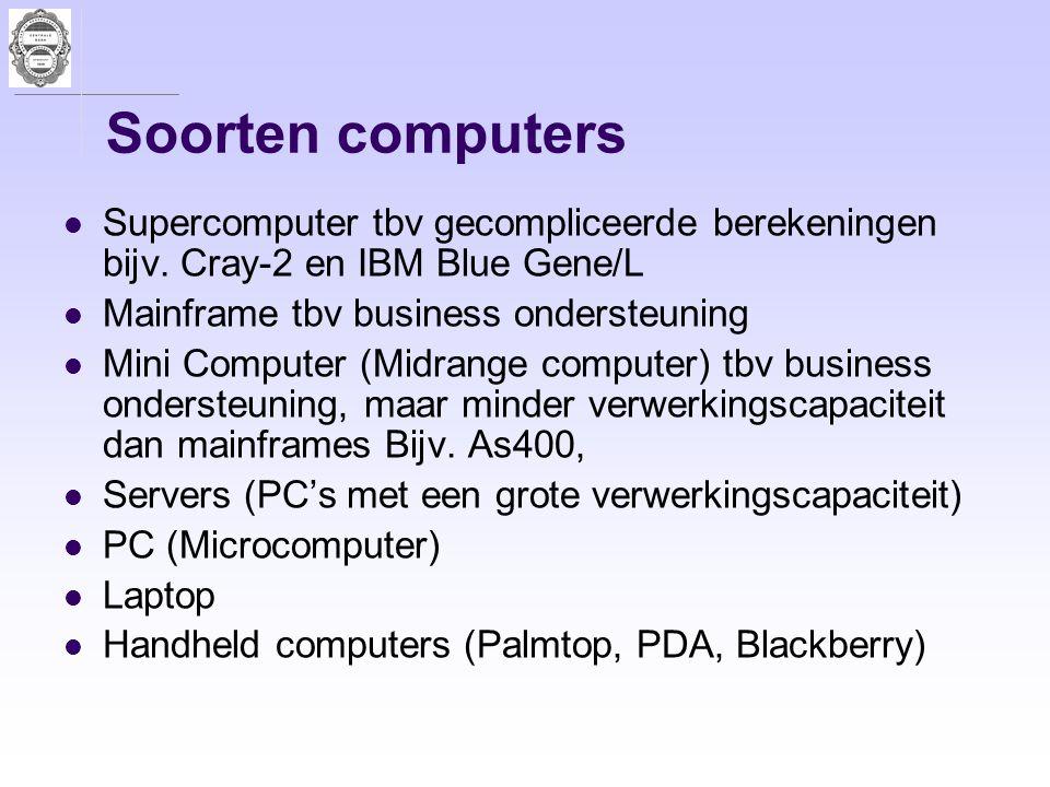 Soorten computers Supercomputer tbv gecompliceerde berekeningen bijv. Cray-2 en IBM Blue Gene/L Mainframe tbv business ondersteuning Mini Computer (Mi