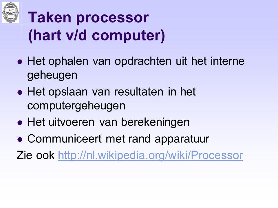 Taken processor (hart v/d computer) Het ophalen van opdrachten uit het interne geheugen Het opslaan van resultaten in het computergeheugen Het uitvoer