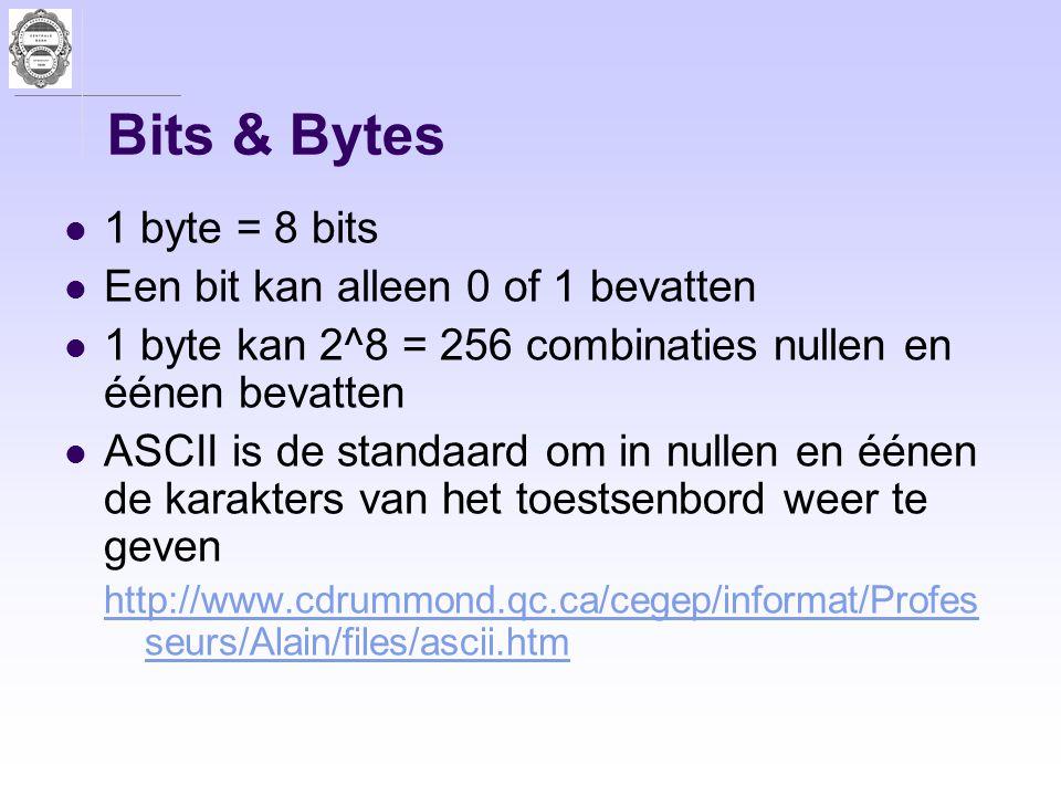 Bits & Bytes 1 byte = 8 bits Een bit kan alleen 0 of 1 bevatten 1 byte kan 2^8 = 256 combinaties nullen en éénen bevatten ASCII is de standaard om in