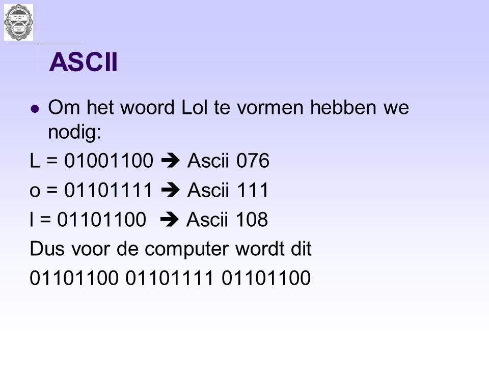 ASCII Om het woord Lol te vormen hebben we nodig: L = 01001100  Ascii 076 o = 01101111  Ascii 111 l = 01101100  Ascii 108 Dus voor de computer word