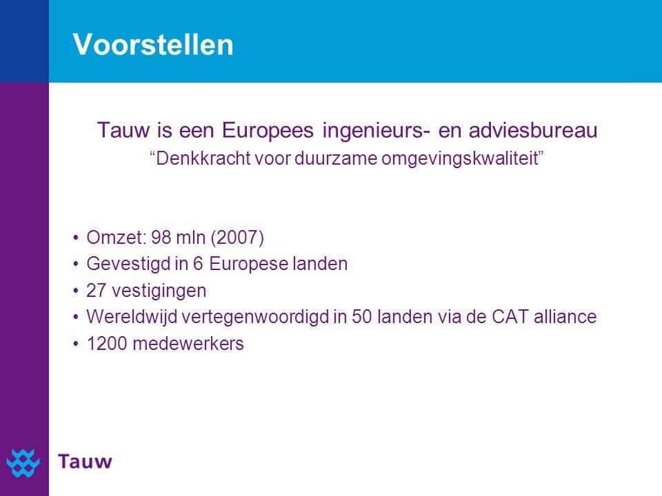 """Voorstellen Tauw is een Europees ingenieurs- en adviesbureau """"Denkkracht voor duurzame omgevingskwaliteit"""" Omzet: 98 mln (2007) Gevestigd in 6 Europes"""
