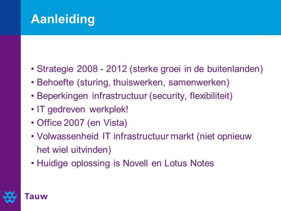 Aanleiding Strategie 2008 - 2012 (sterke groei in de buitenlanden) Behoefte (sturing, thuiswerken, samenwerken) Beperkingen infrastructuur (security,