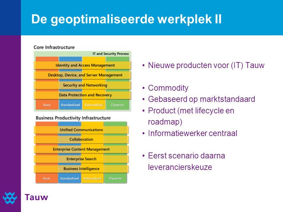 De geoptimaliseerde werkplek II Nieuwe producten voor (IT) Tauw Commodity Gebaseerd op marktstandaard Product (met lifecycle en roadmap) Informatiewer