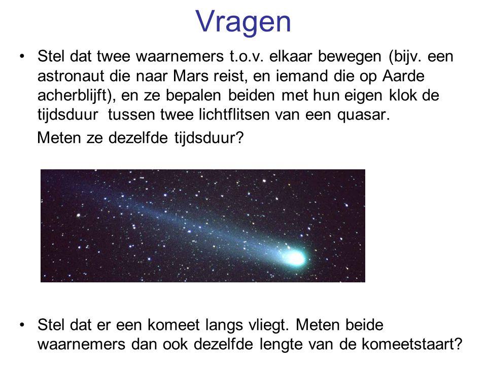 Vragen Stel dat twee waarnemers t.o.v. elkaar bewegen (bijv. een astronaut die naar Mars reist, en iemand die op Aarde acherblijft), en ze bepalen bei