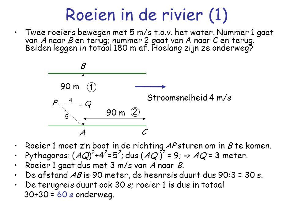 Twee roeiers bewegen met 5 m/s t.o.v. het water. Nummer 1 gaat van A naar B en terug; nummer 2 gaat van A naar C en terug. Beiden leggen in totaal 180