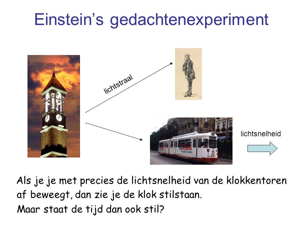 Einstein's gedachtenexperiment Als je je met precies de lichtsnelheid van de klokkentoren af beweegt, dan zie je de klok stilstaan. Maar staat de tijd