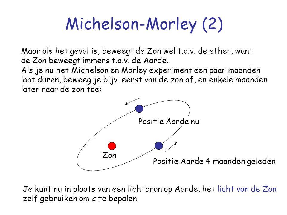 Michelson-Morley (2) Maar als het geval is, beweegt de Zon wel t.o.v. de ether, want de Zon beweegt immers t.o.v. de Aarde. Als je nu het Michelson en