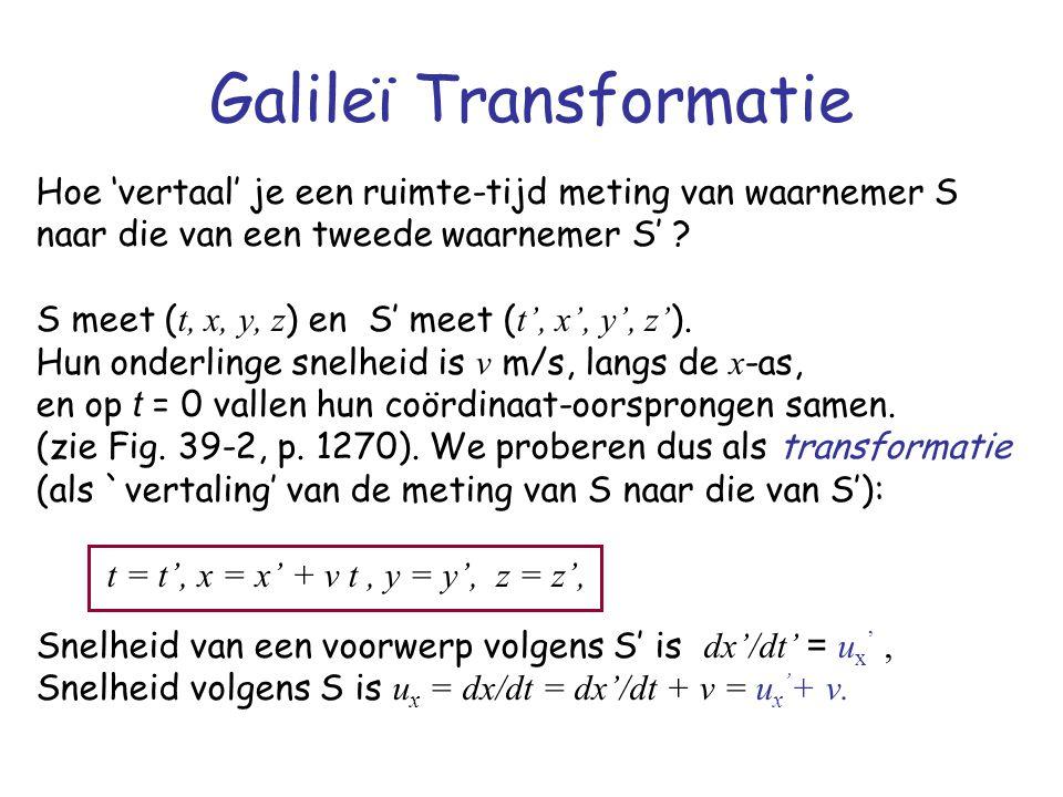 Galileï Transformatie Hoe 'vertaal' je een ruimte-tijd meting van waarnemer S naar die van een tweede waarnemer S' ? S meet ( t, x, y, z ) en S' meet