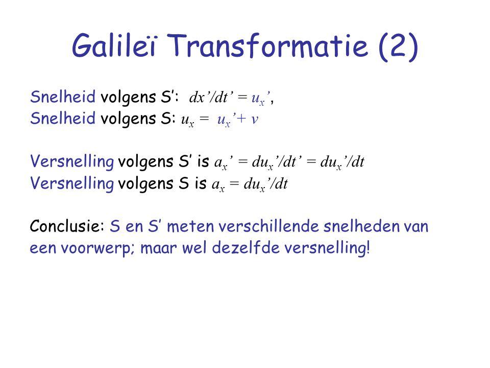 Galileï Transformatie (2) Snelheid volgens S': dx'/dt' = u x ', Snelheid volgens S: u x = u x '+ v Versnelling volgens S' is a x ' = du x '/dt' = du x