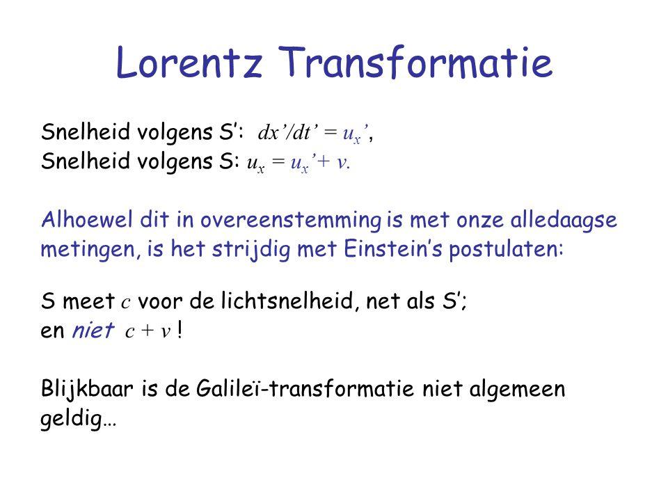 Lorentz Transformatie Snelheid volgens S': dx'/dt' = u x ', Snelheid volgens S: u x = u x '+ v. Alhoewel dit in overeenstemming is met onze alledaagse
