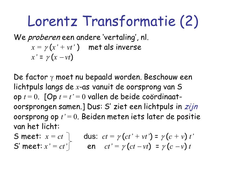 Lorentz Transformatie (2) We proberen een andere 'vertaling', nl. x =  ( x' + vt' ) met als inverse x' =  ( x  vt ) De factor  moet nu bepaald wo