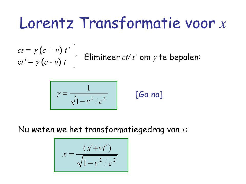 Lorentz Transformatie voor x ct =  ( c + v ) t' ct' =  ( c - v ) t Elimineer ct/ t' om  te bepalen: Nu weten we het transformatiegedrag van x : [Ga