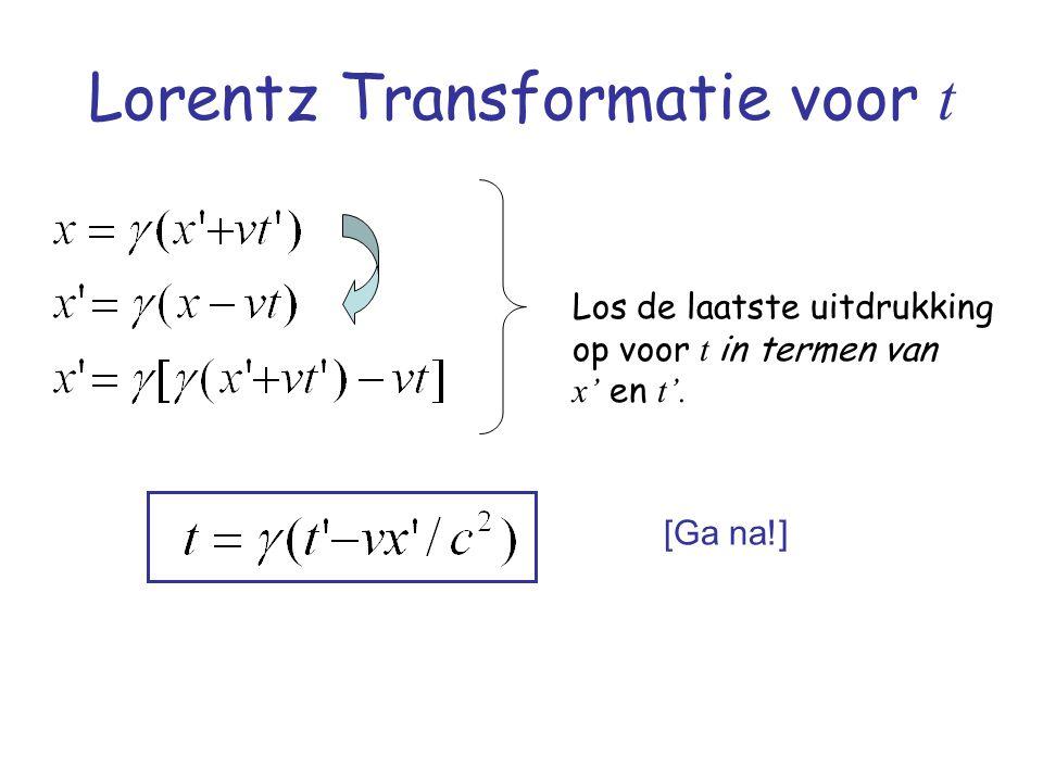 Lorentz Transformatie voor t Los de laatste uitdrukking op voor t in termen van x' en t'. [Ga na!]