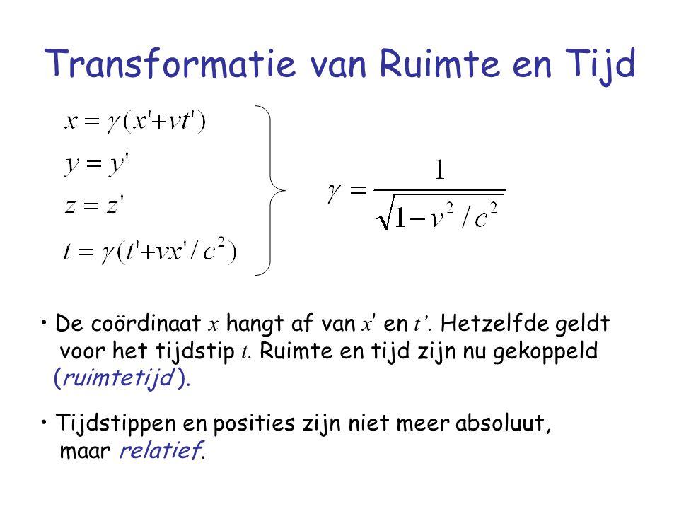 Transformatie van Ruimte en Tijd De coördinaat x hangt af van x ' en t'. Hetzelfde geldt voor het tijdstip t. Ruimte en tijd zijn nu gekoppeld (ruimte