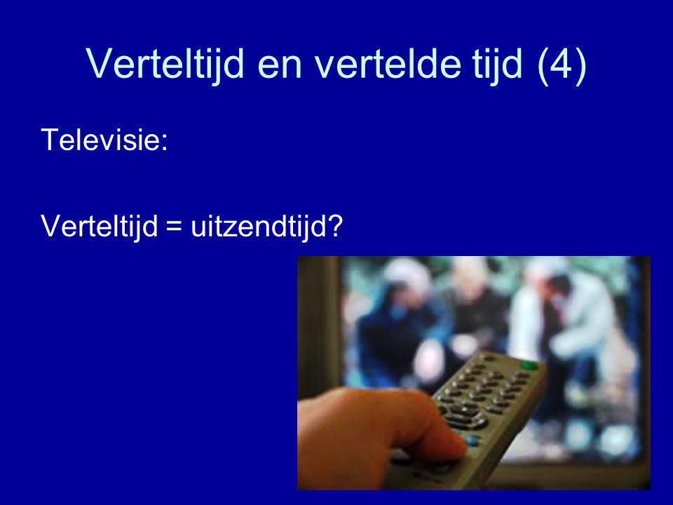 Verteltijd en vertelde tijd (4) Televisie: Verteltijd = uitzendtijd