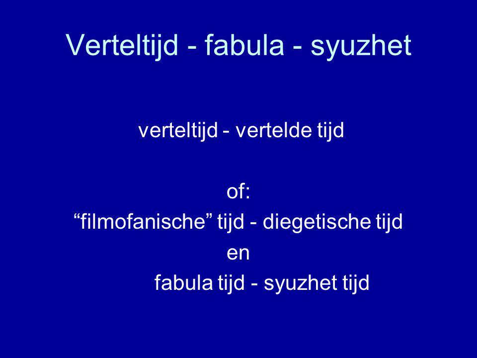 Verteltijd - fabula - syuzhet verteltijd - vertelde tijd of: filmofanische tijd - diegetische tijd en fabula tijd - syuzhet tijd