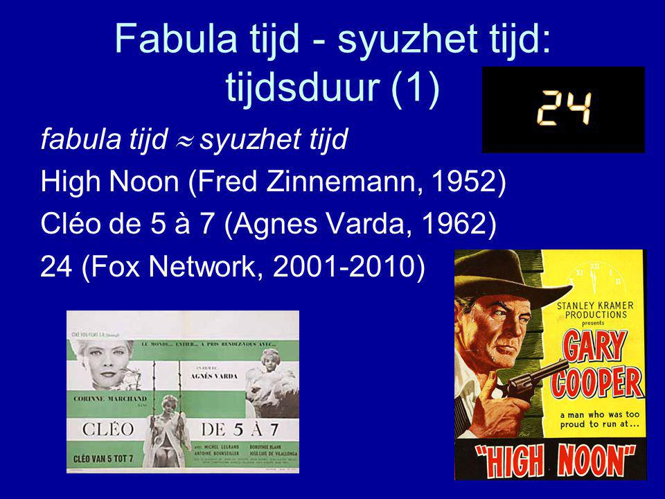 Fabula tijd - syuzhet tijd: tijdsduur (1) fabula tijd  syuzhet tijd High Noon (Fred Zinnemann, 1952) Cléo de 5 à 7 (Agnes Varda, 1962) 24 (Fox Network, 2001-2010)
