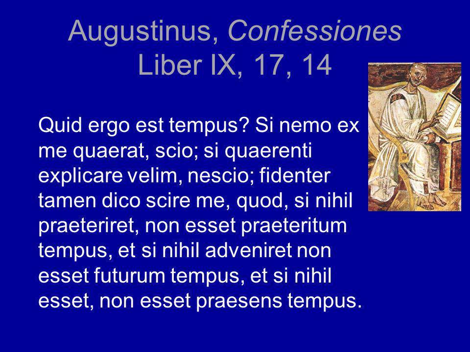 Augustinus, Confessiones Liber IX, 17, 14 Quid ergo est tempus.