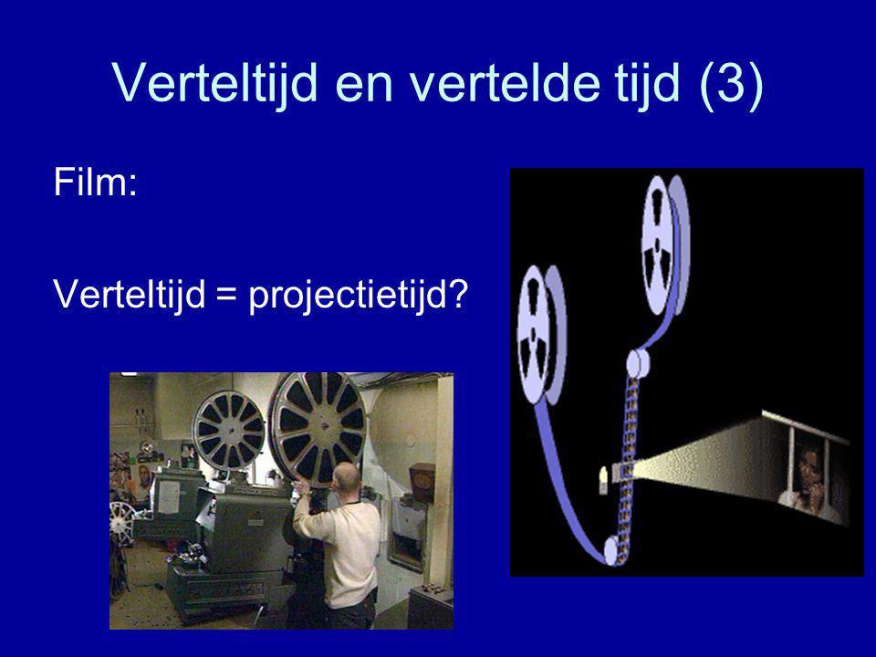 Verteltijd en vertelde tijd (3) Film: Verteltijd = projectietijd