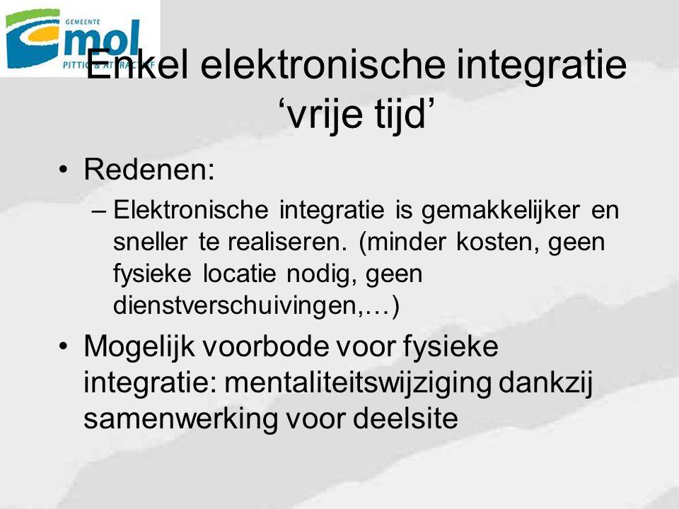 Enkel elektronische integratie 'vrije tijd' Redenen: – Elektronische integratie is gemakkelijker en sneller te realiseren.