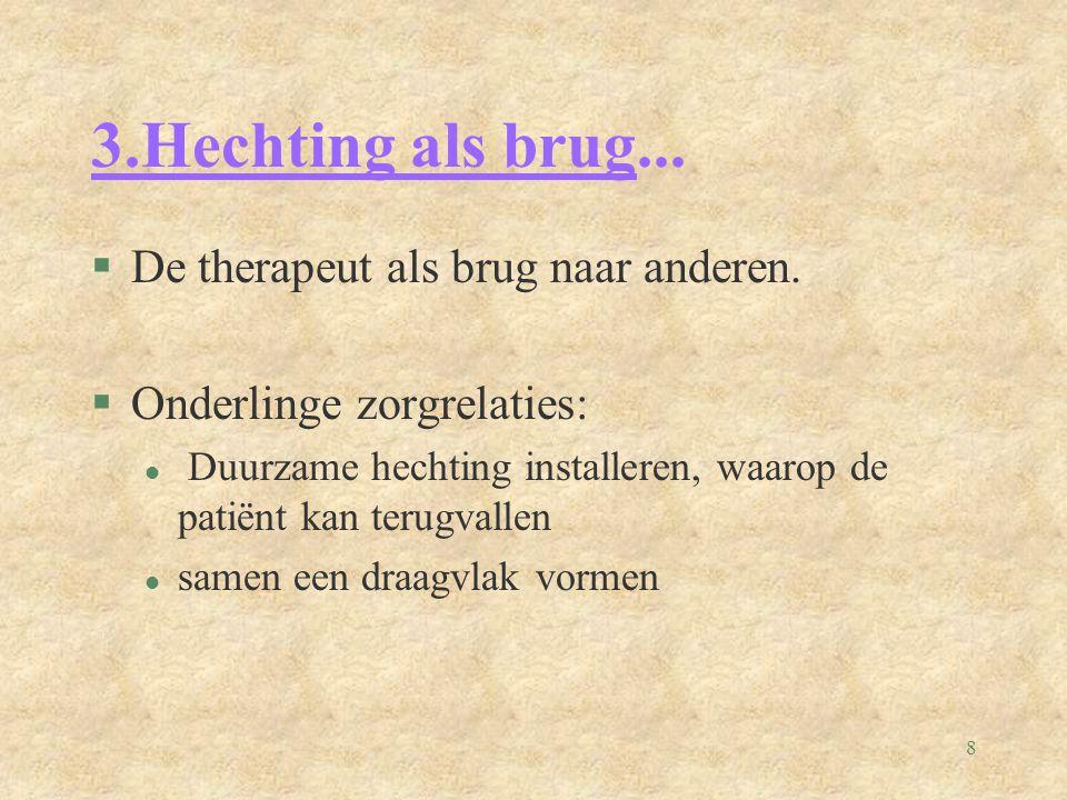 8 3.Hechting als brug... §De therapeut als brug naar anderen.