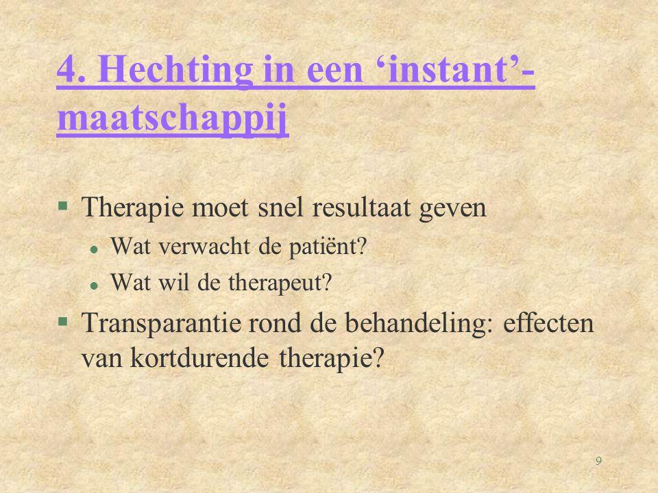 9 4. Hechting in een 'instant'- maatschappij §Therapie moet snel resultaat geven l Wat verwacht de patiënt? l Wat wil de therapeut? §Transparantie ron