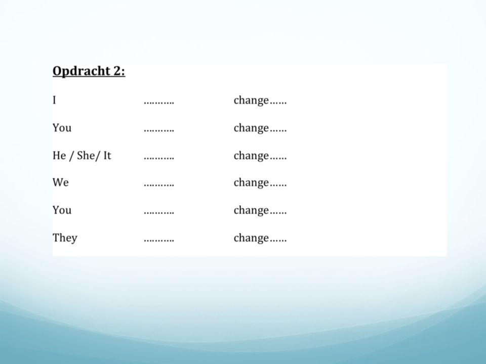 Antwoorden opdracht 2: Ihavechanged Youhavechanged He / She/ It haschanged We havechanged Youhavechanged Theyhavechanged