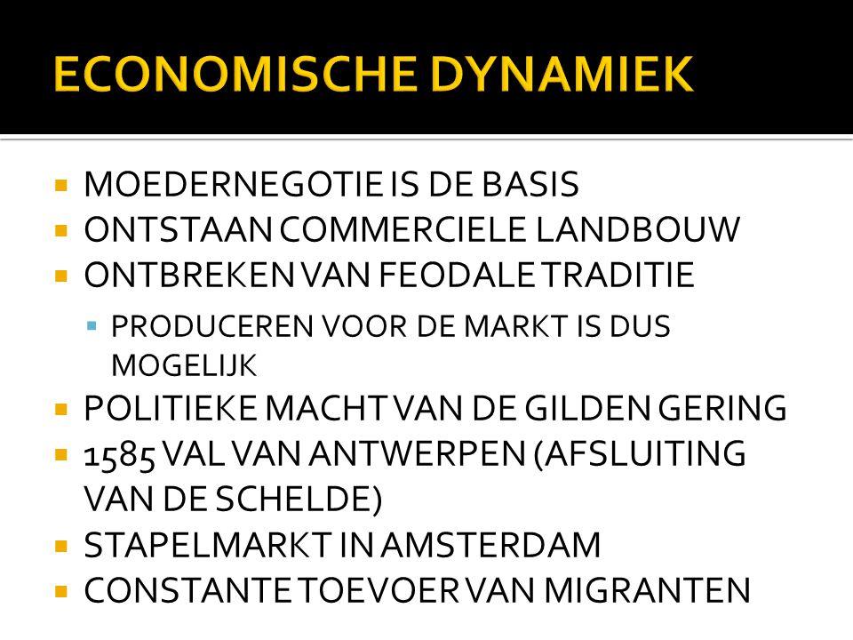  MOEDERNEGOTIE IS DE BASIS  ONTSTAAN COMMERCIELE LANDBOUW  ONTBREKEN VAN FEODALE TRADITIE  PRODUCEREN VOOR DE MARKT IS DUS MOGELIJK  POLITIEKE MACHT VAN DE GILDEN GERING  1585 VAL VAN ANTWERPEN (AFSLUITING VAN DE SCHELDE)  STAPELMARKT IN AMSTERDAM  CONSTANTE TOEVOER VAN MIGRANTEN
