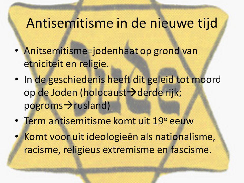 Antisemitisme in de nieuwe tijd Anitsemitisme=jodenhaat op grond van etniciteit en religie. In de geschiedenis heeft dit geleid tot moord op de Joden