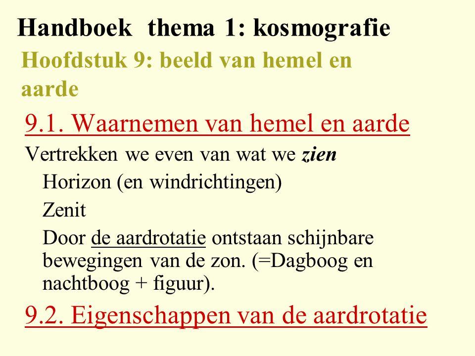 Handboek thema 1: kosmografie Hoofdstuk 9: beeld van hemel en aarde 9.1.