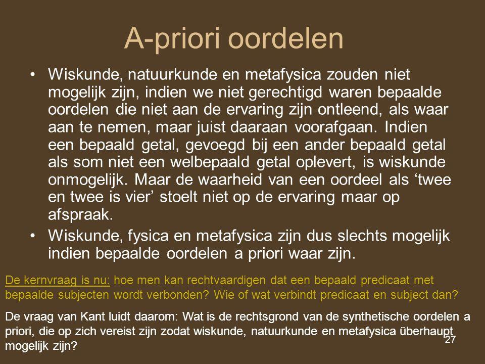 27 A-priori oordelen Wiskunde, natuurkunde en metafysica zouden niet mogelijk zijn, indien we niet gerechtigd waren bepaalde oordelen die niet aan de