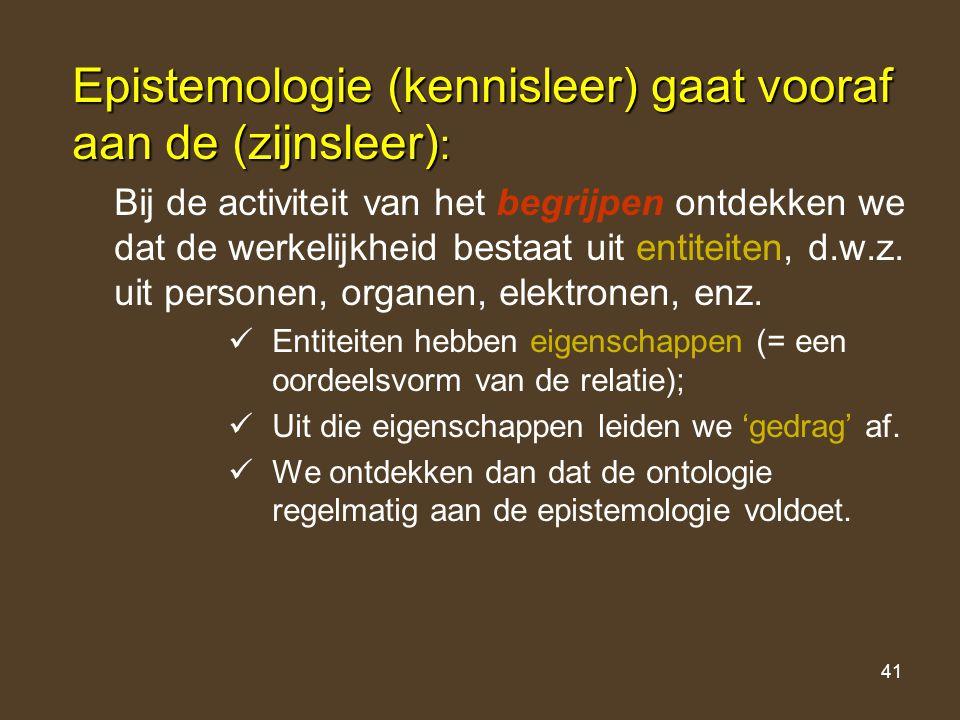 41 Epistemologie (kennisleer) gaat vooraf aan de (zijnsleer) : Bij de activiteit van het begrijpen ontdekken we dat de werkelijkheid bestaat uit entit