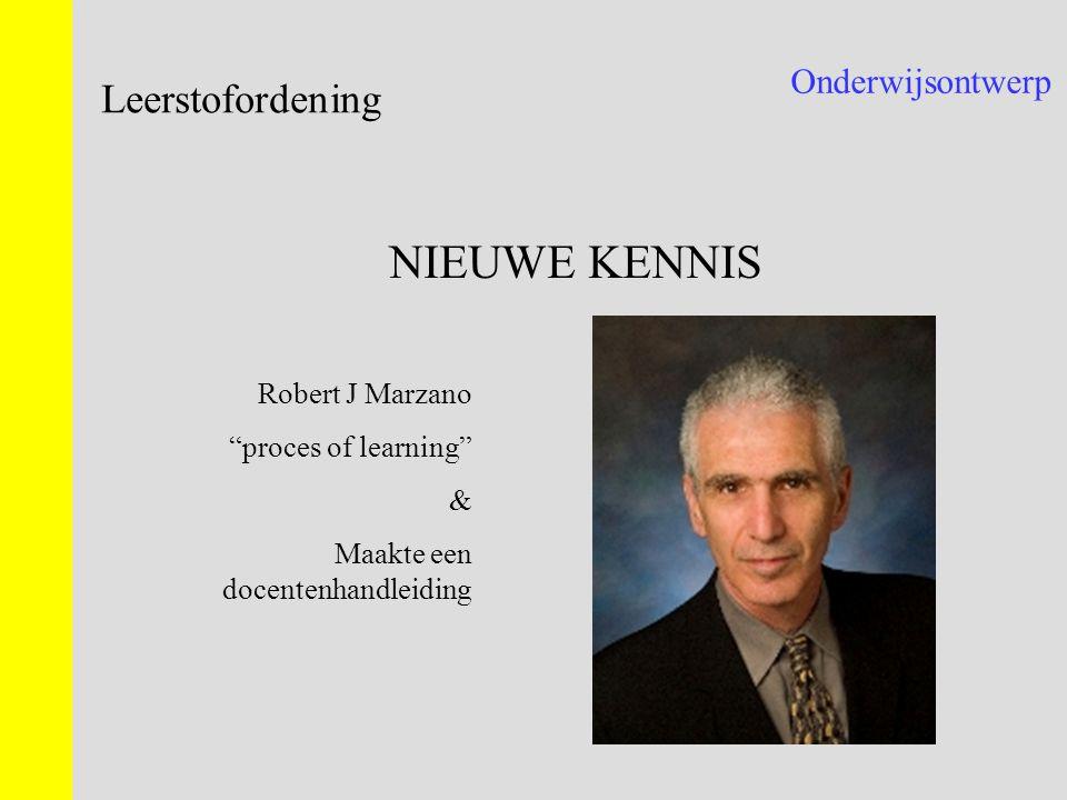 """Onderwijsontwerp Leerstofordening NIEUWE KENNIS Robert J Marzano """"proces of learning"""" & Maakte een docentenhandleiding"""