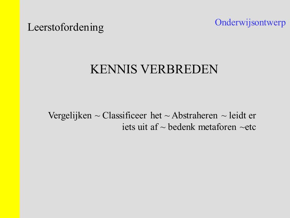 Onderwijsontwerp Leerstofordening KENNIS VERBREDEN Vergelijken ~ Classificeer het ~ Abstraheren ~ leidt er iets uit af ~ bedenk metaforen ~etc