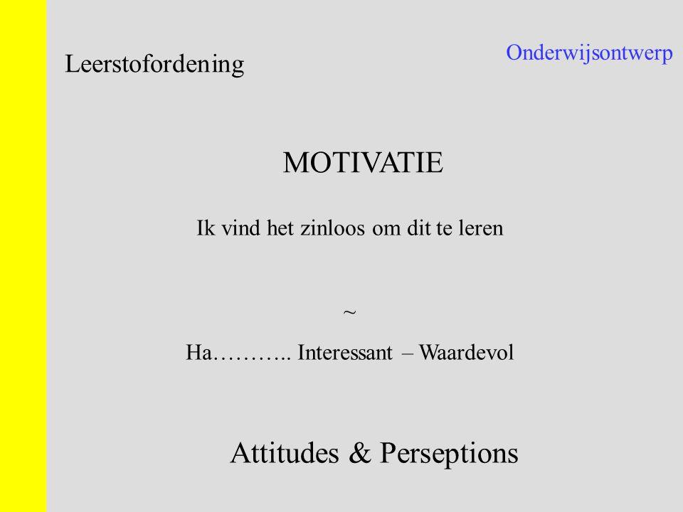 Onderwijsontwerp Leerstofordening MOTIVATIE Ik vind het zinloos om dit te leren ~ Ha……….. Interessant – Waardevol Attitudes & Perseptions