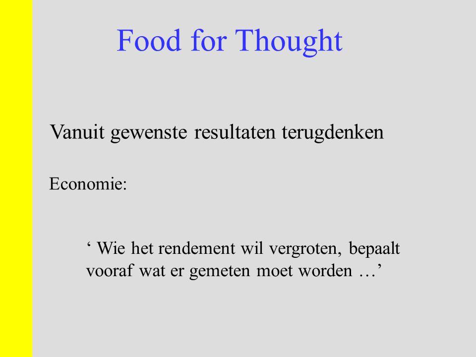 Food for Thought Vanuit gewenste resultaten terugdenken Economie: ' Wie het rendement wil vergroten, bepaalt vooraf wat er gemeten moet worden …'