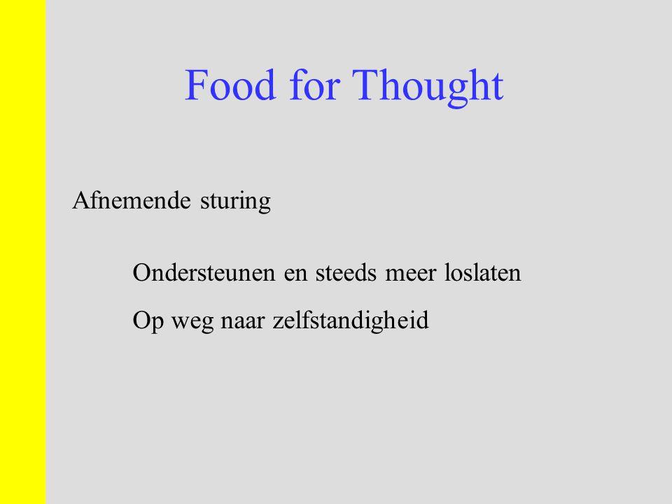 Food for Thought Afnemende sturing Ondersteunen en steeds meer loslaten Op weg naar zelfstandigheid