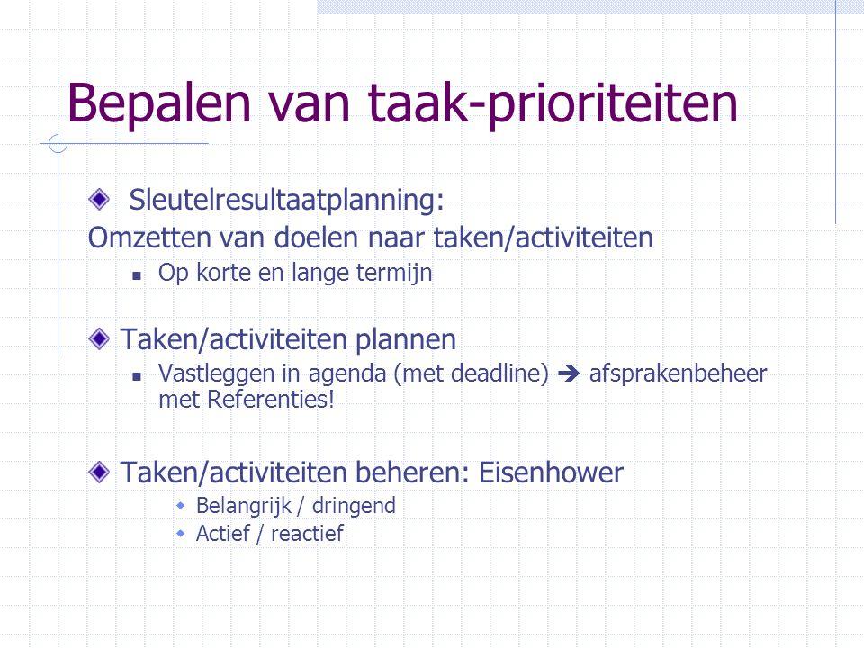 Bepalen van taak-prioriteiten Sleutelresultaatplanning: Omzetten van doelen naar taken/activiteiten Op korte en lange termijn Taken/activiteiten plann