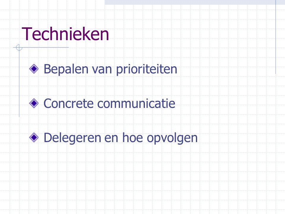 Technieken Bepalen van prioriteiten Concrete communicatie Delegeren en hoe opvolgen
