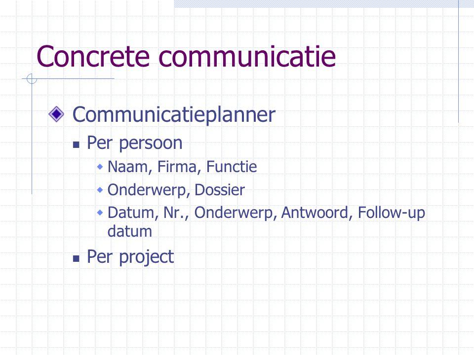Concrete communicatie Communicatieplanner Per persoon  Naam, Firma, Functie  Onderwerp, Dossier  Datum, Nr., Onderwerp, Antwoord, Follow-up datum P
