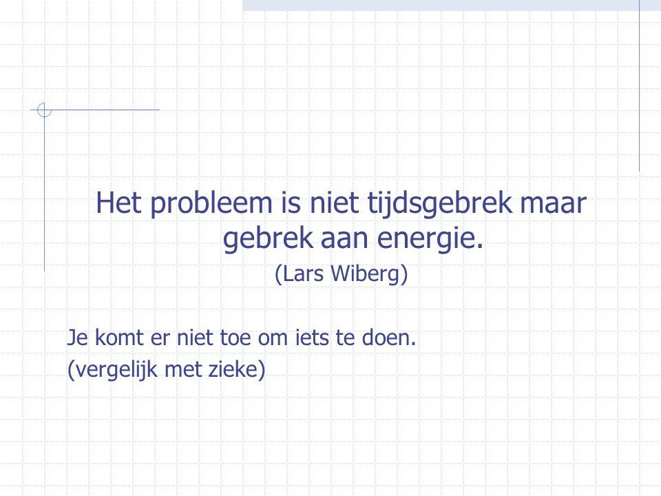 Het probleem is niet tijdsgebrek maar gebrek aan energie. (Lars Wiberg) Je komt er niet toe om iets te doen. (vergelijk met zieke)