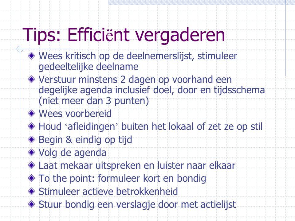Tips: Effici ë nt vergaderen Wees kritisch op de deelnemerslijst, stimuleer gedeeltelijke deelname Verstuur minstens 2 dagen op voorhand een degelijke