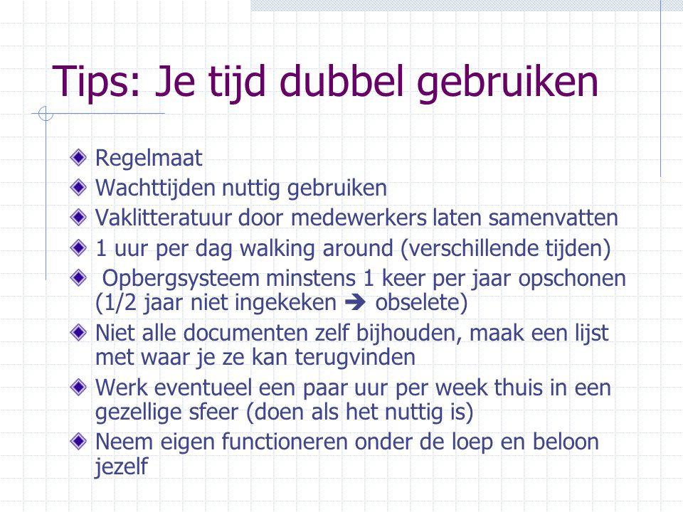 Tips: Je tijd dubbel gebruiken Regelmaat Wachttijden nuttig gebruiken Vaklitteratuur door medewerkers laten samenvatten 1 uur per dag walking around (
