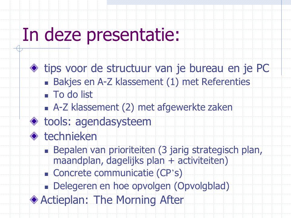 In deze presentatie: tips voor de structuur van je bureau en je PC Bakjes en A-Z klassement (1) met Referenties To do list A-Z klassement (2) met afge