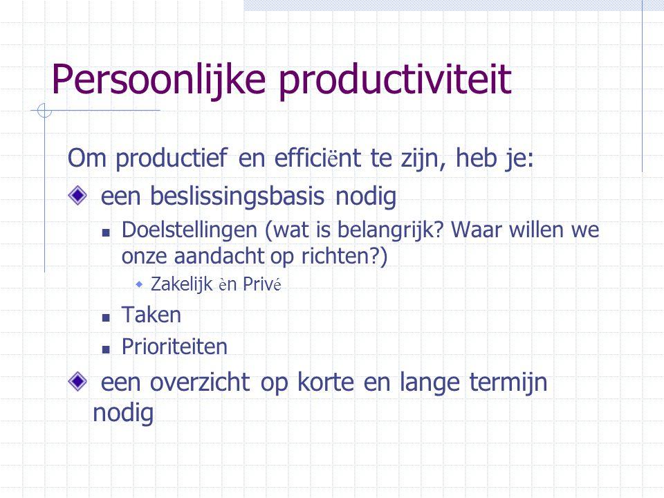 Persoonlijke productiviteit Om productief en effici ë nt te zijn, heb je: een beslissingsbasis nodig Doelstellingen (wat is belangrijk? Waar willen we